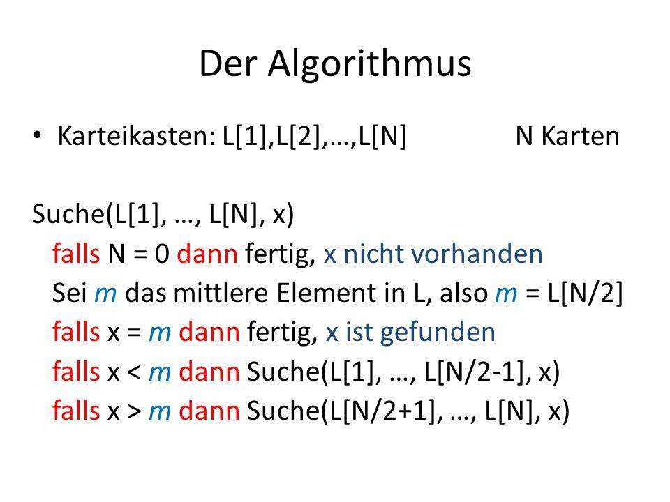 Der Algorithmus Karteikasten: L[1],L[2],…,L[N] N Karten